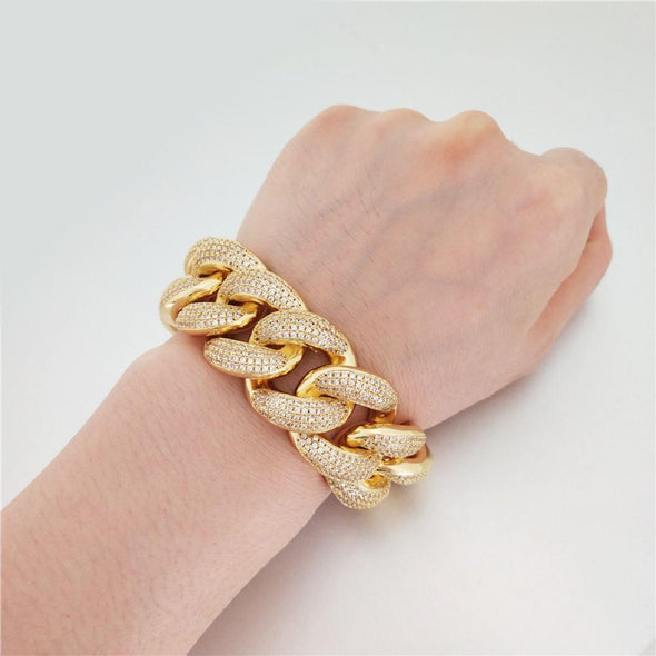 HUGE 24MM 3D Cuban Bling Bling Bracelet White/Yellow Gold