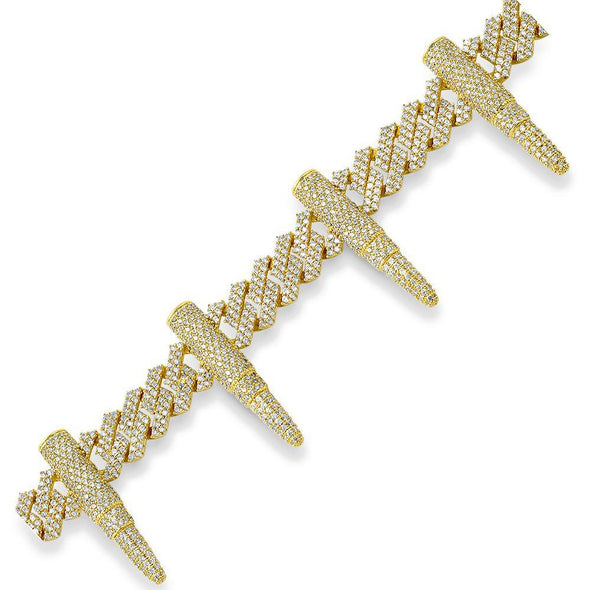 Bullet Cuban Link Iced Out Hip Hop Bracelet