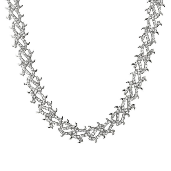 Crown of Thorns White Gold CZ Bling Bling Chain