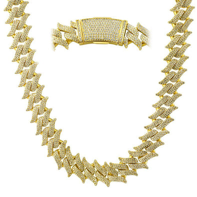 Spiked Cuban Link CZ Hip Hop Iced Out Chain