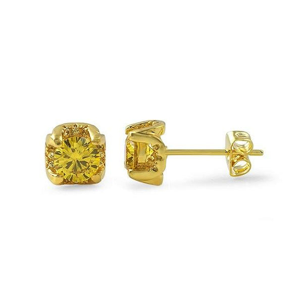 Lemonade CZ 6MM Stud Halo Bling Bling Earrings