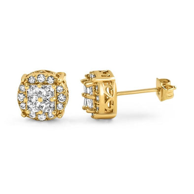 Princess Cut Round Cluster Gold CZ Hip Hop Earrings