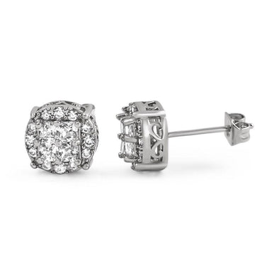 Princess Cut Round Cluster Rhodium CZ Hip Hop Earrings