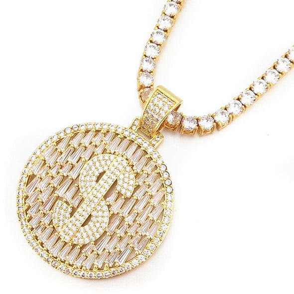Raining Baguettes Money Sign Iced Out Pendant in White / Yellow Gold