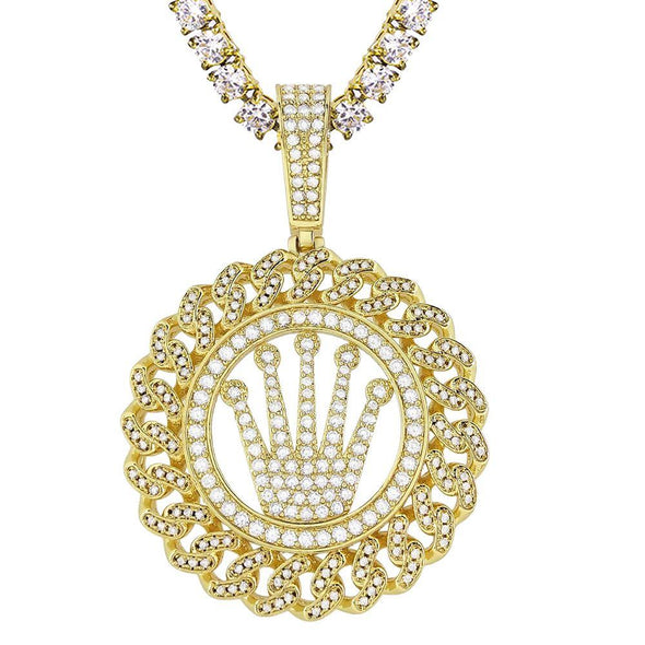 Cuban Link Crown Bling Pendant White / Yellow Gold