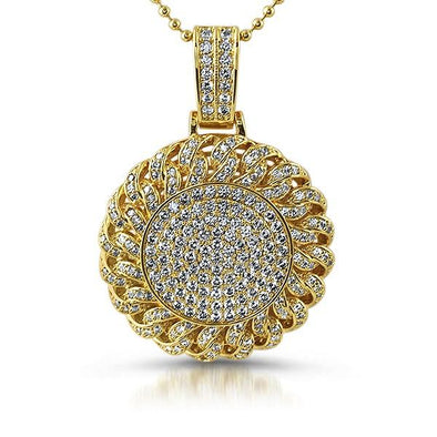 Gold Cuban Bling Bling Medallion Pendant