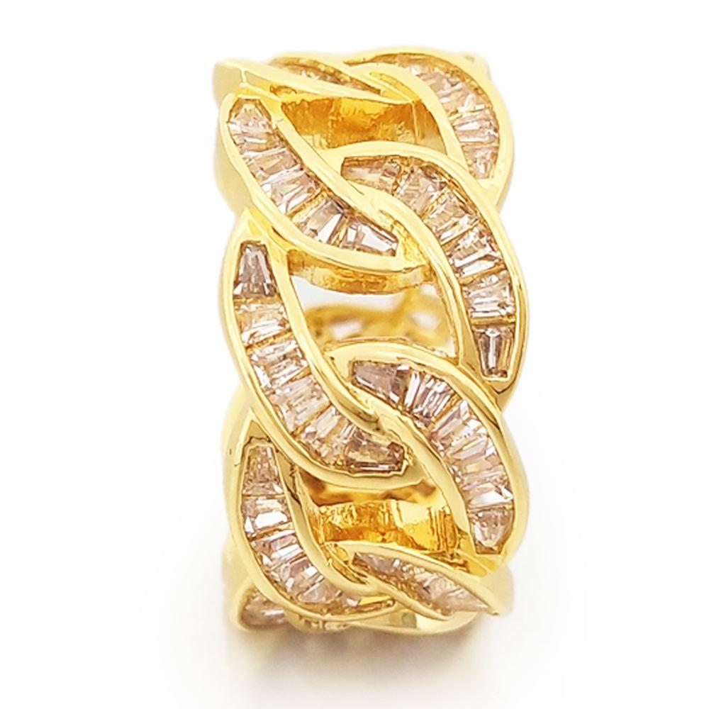Baguette Cuban CZ Eternity Band Hip Hop Ring