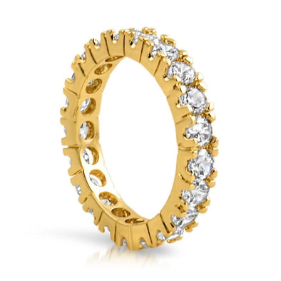.925 Silver Gold Eternity Band 3MM CZ Bling Ring