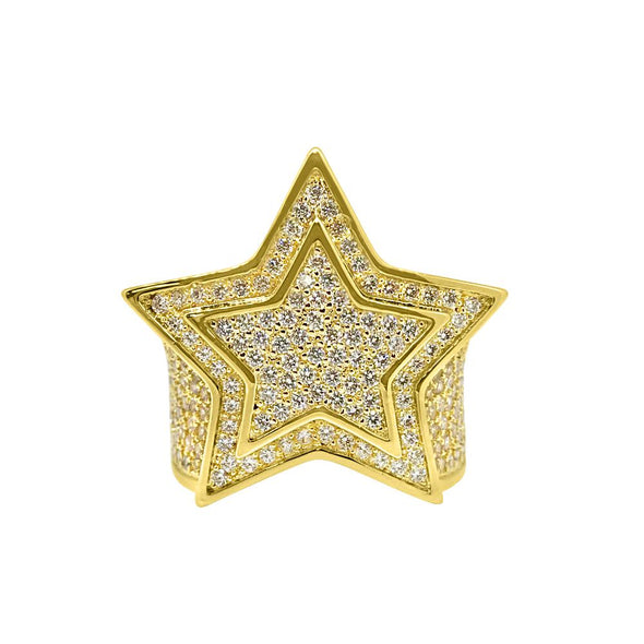.925 Sterling Silver Super Star Gold CZ Bling Bling Ring