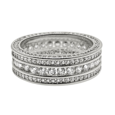 Channel Set 360 Eternity Band Rhodium CZ Bling Bling Ring