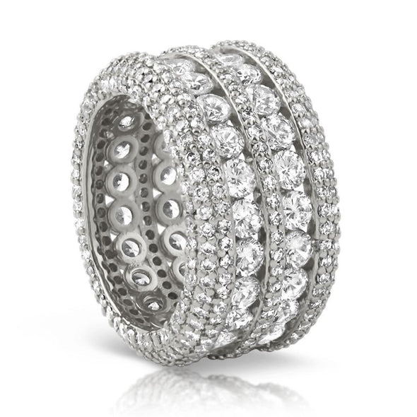 .925 Silver Ultimate Boss Bling Bling CZ Eternity Mens Ring in Rhodium