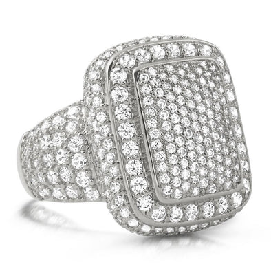 .925 Silver Cocktail Chunky Ice Bling Bling CZ Mens Ring in Rhodium