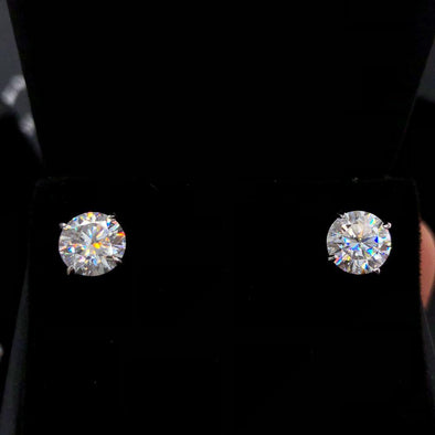 Moissanite VVS D Ideal Cut Stud Earrings in .925 Sterling Silver