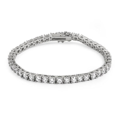 .925 Silver 4MM CZ 1 Row Bling Tennis Bracelet Rhodium