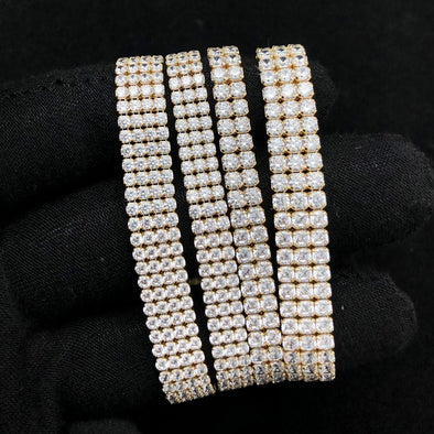 Multi Row Tennis Bracelet 2MM VVS CZ 10K Yellow Gold