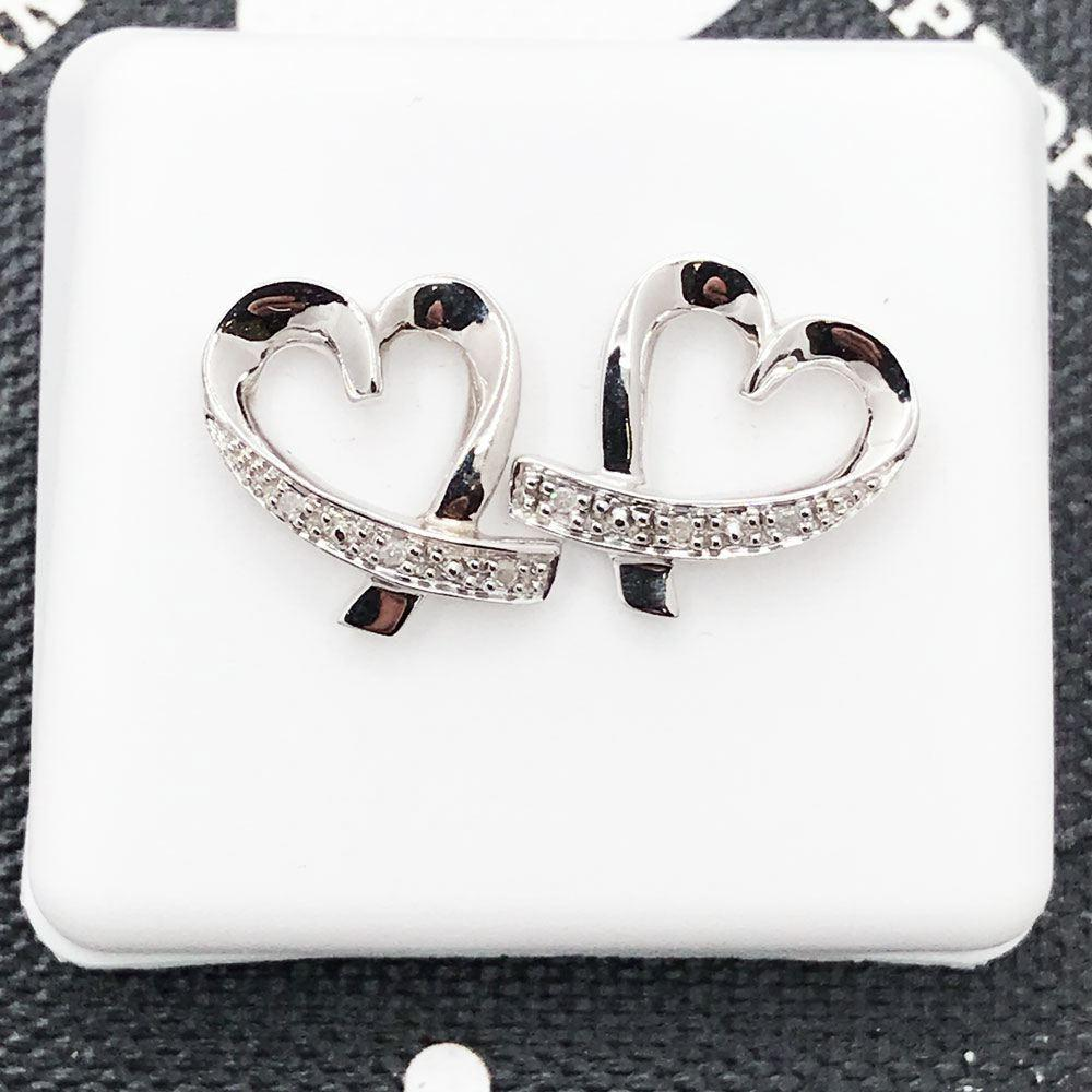 Heart Ribbon Diamond Earrings