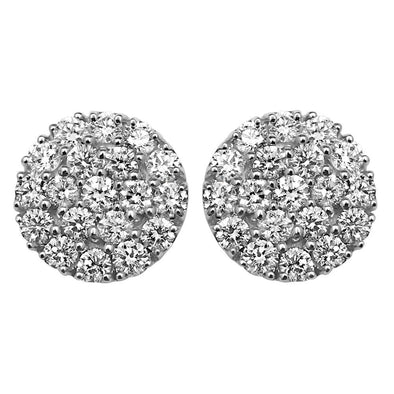 Round 11MM Micro Pave Diamond Earrings 1.65cttw 10K Yellow Gold