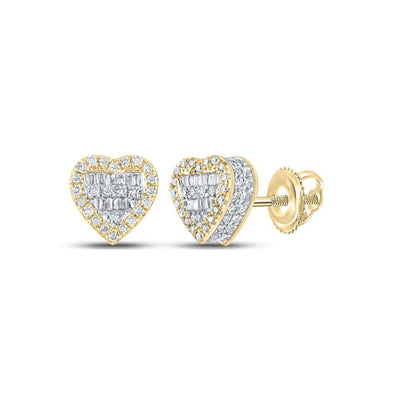 Baguette 3D Heart Diamond Earrings .37cttw 10K Yellow Gold