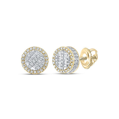 Baguette 3D Circle Diamond Earrings .50cttw 10K Yellow Gold