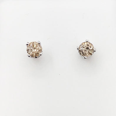 Solitaire Diamond Stud Earrings .20cttw 14K White Gold