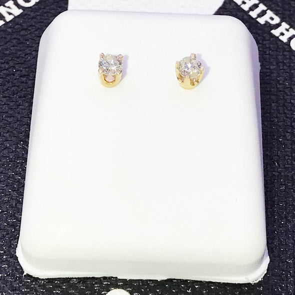 Round Cut Stud Diamond Earrings .20cttw 14K Yellow Gold