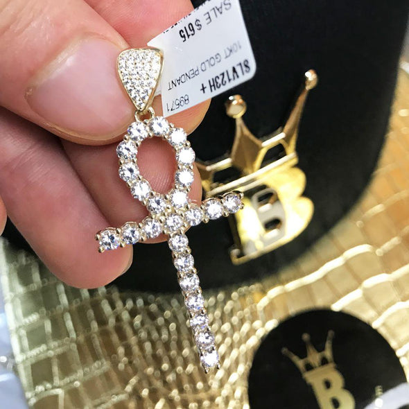 Tennis Ankh Cross CZ Pendant in 10K Yellow Gold