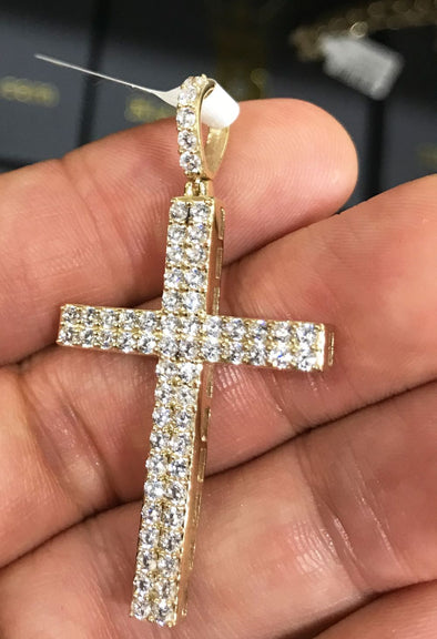 Double Tennis Cross CZ Pendant in 10K Yellow Gold
