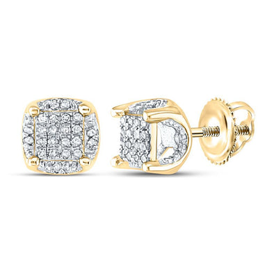 3D Pave Stud .20 Carat Diamond Earrings .10K Gold