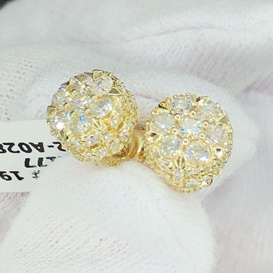3D Flower Cluster Diamond Earrings 1.49cttw 10K Yellow Gold