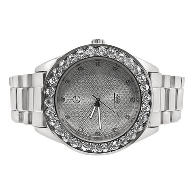 46MM Big Stones Bezel Bling Silver Hip Hop Watch