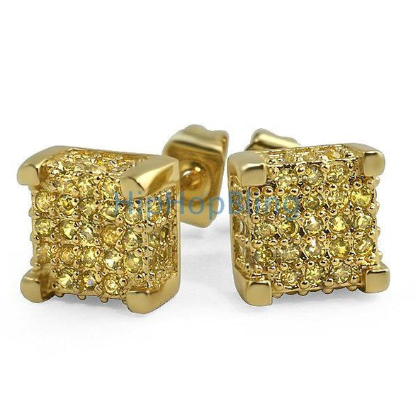 Custom Lemonade Cube 3D CZ Bling Bling Earrings