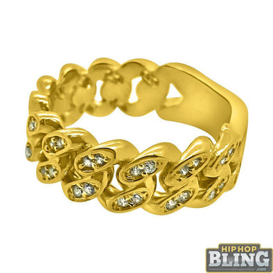10K Gold 8MM Cuban CZ Bling Ring