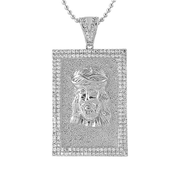 Jesus Piece Block Medallion Iced Out