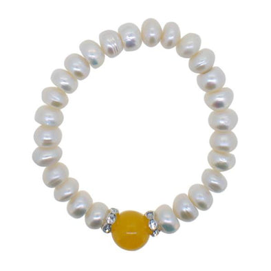 Freshwater Pearl Bracelet Yellow Natural Stone