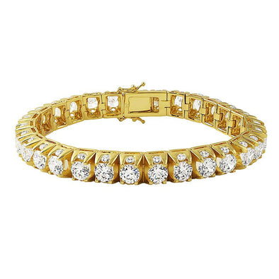 3D Thick Tennis Bracelet in Gold