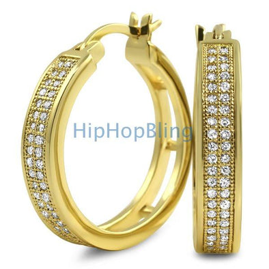 Gold Hoops 2 Row CZ Micro Pave Earrings