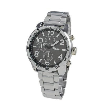 Clean Black Dial Silver Metal Band Watch