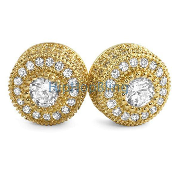 Gold Mega 3D Cluster CZ Iced Out Earrings