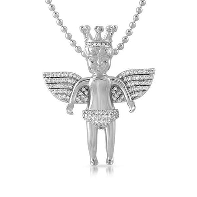 Cherub Angel Wearing Crown Hip Hop Pendant