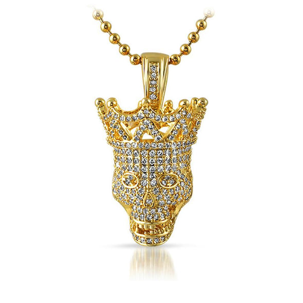 Full CZ Diamond 3D Skull Bling Bling Gold Pendant