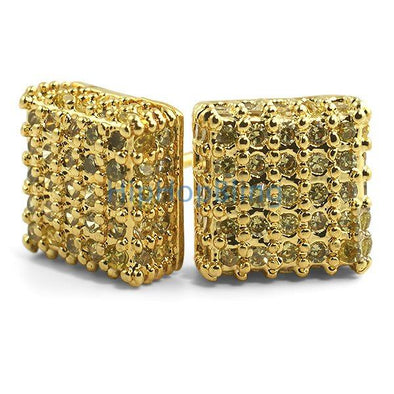 Large 3D Box Lemonade CZ Iced Out Earrings