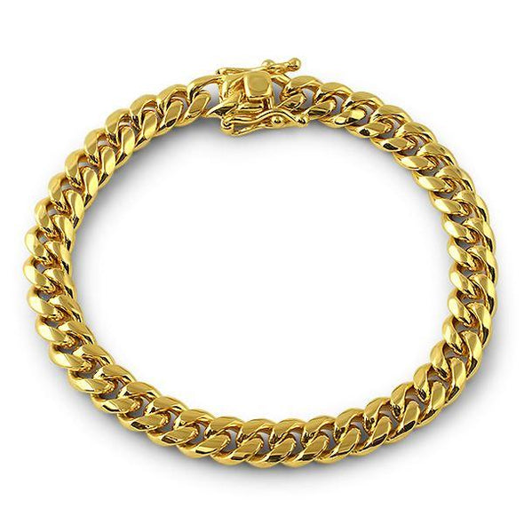3X IP Gold Miami Cuban Bracelet Stainless Steel 8MM