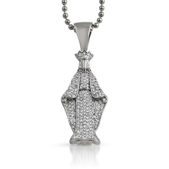 Crowned Angel Bling Bling CZ Pendant Rhodium