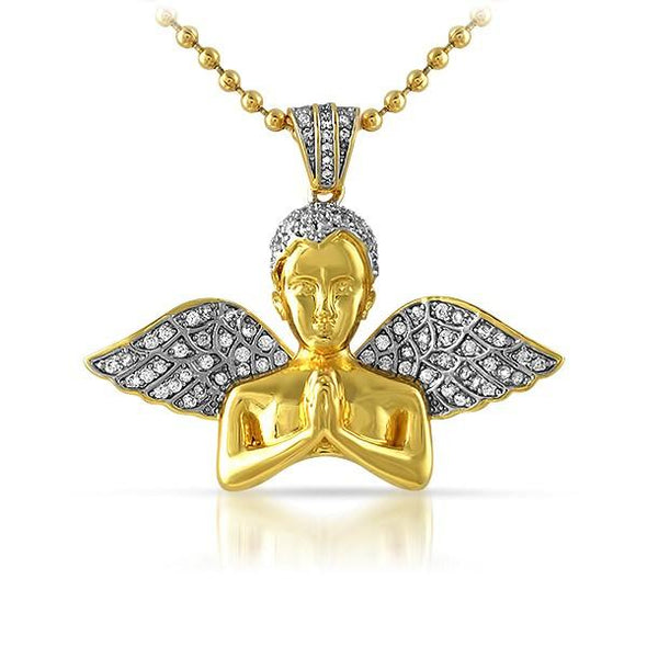 Praying Cherub Angel Bust Gold Hip Hop Pendant