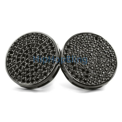 Jumbo Circle Black CZ Micro Pave Bling Bling Earrings