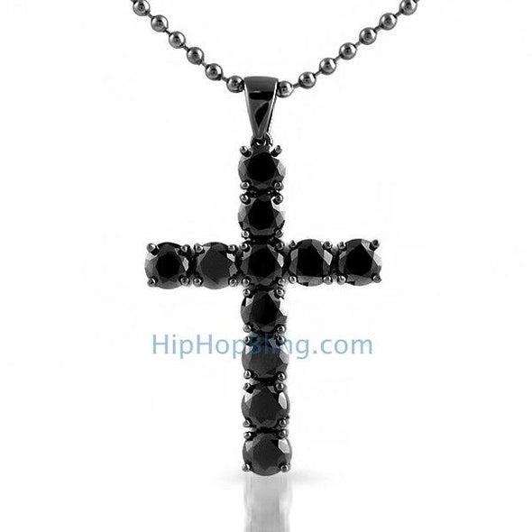 4mm Black CZ Diamond Bling Bling Cross