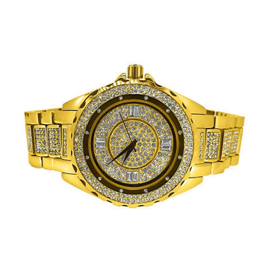 Gold Unique Bling Bling Watch Bracelet Set