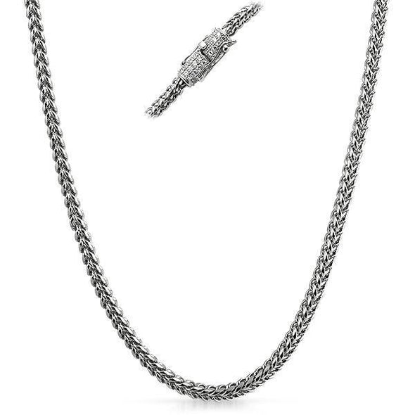 "CZ Diamond Clasp Stainless Steel Franco Chain 4MM (24"")"