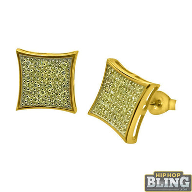 Canary CZ Gold Large Kite Hip Hop Earrings