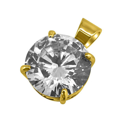 20MM CZ Solitaire Gold Bling Bling Pendant